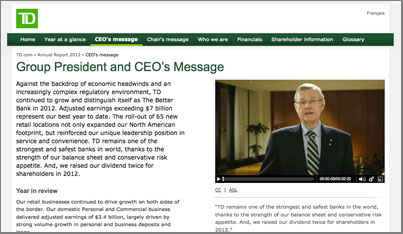 TD Bank annual report CEO message