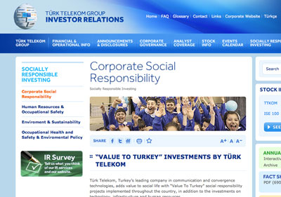Turk Telekom's CSR website section