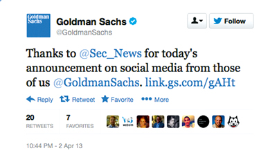 Social nicety: Goldman Sachs tweeted its appreciation for the SEC's new guidance