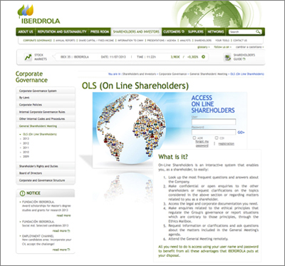 Iberdrola's On Line Shareholders system