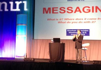 Presentation trainer Michael Sheehan, talking at NIRI 2013