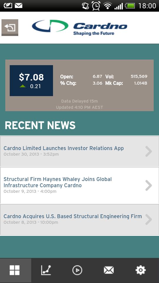 Cardno IR app splash page