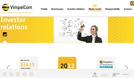 VimpelCom investor relations homepage