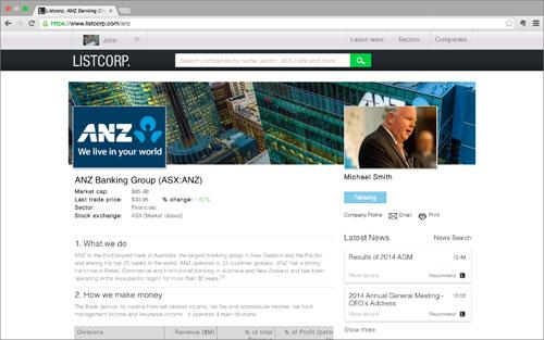 Listcorp ANZ profile