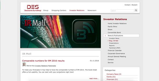 The Deutsche EuroShop IR website